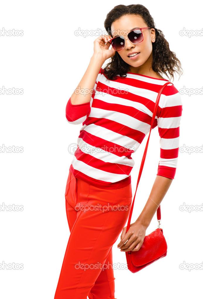 31627777a68a Sexy smíšené rasy módní model představuje izolované na bílém poza– stock  obrázky