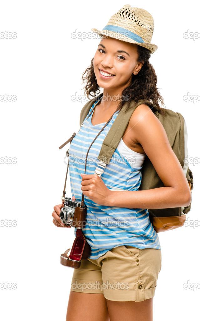 641b9cb5892e Šťastný afroamerické ženy turistické izolovaných na bílém poza — Stock  fotografie