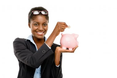 Happy African American business woman holdig piggybank isolated