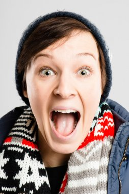 funny woman portrait real high definition grey background