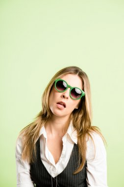 funny woman portrait real high definition green background