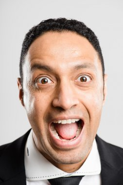 funny man portrait real high definition grey background