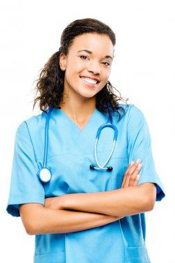 Happy black nurse smiling arms folded isolated on white backgrou