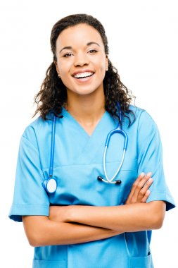 Happy mixed race nurse smiling arms folded isolated on white bac