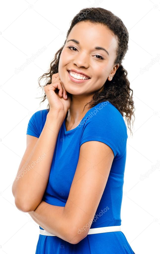 f8c6ed7f0566 Krásné sexy bue žena latino šaty izolované na bílém poz — Stock fotografie