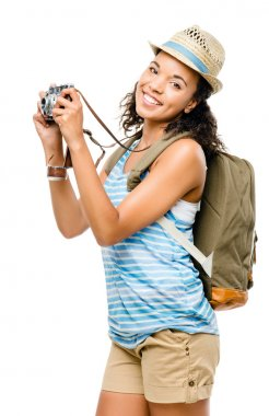 Happy African American woman tourist isolated