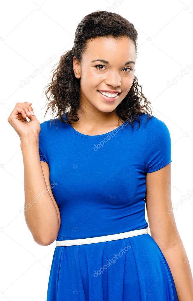 0800f9d5634b Krásné smíšené rasy žena sexy bue šaty izolovaných na bílém pozadí —  Fotografie od ...