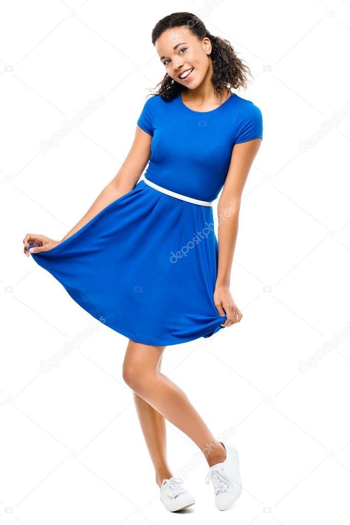 5e70391ccaa5 Krásné smíšené rasy žena sexy modré šaty izolovaných na bílém pozadí —  Fotografie od ...