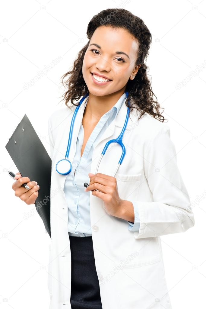African American Doctor happy smiling isolated