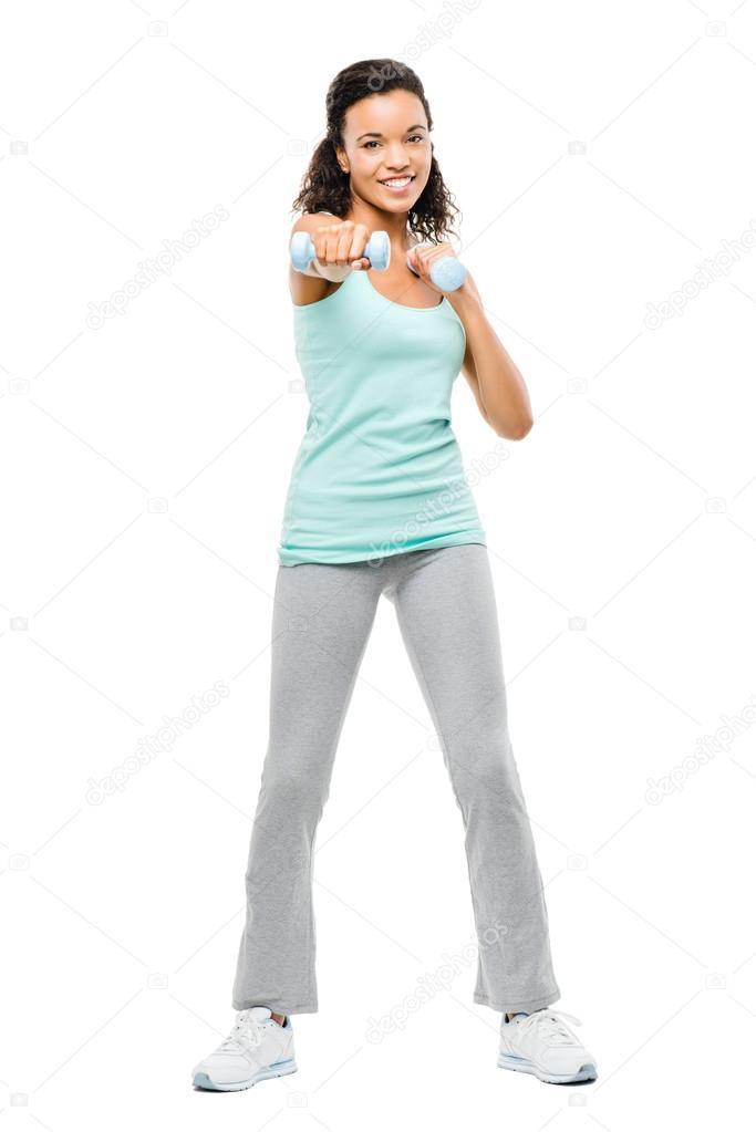 8f2a4a3876eb Zdravý mladý smíšené rasy žena výkonu izolovaných na bílém pozadí —  Fotografie od ...