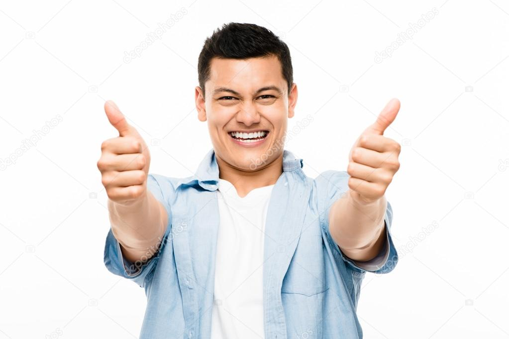 Asian college student happy thumbs up– stock image