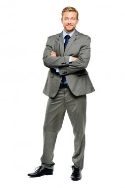 Happy businessman arms folded isolated on white stock vector