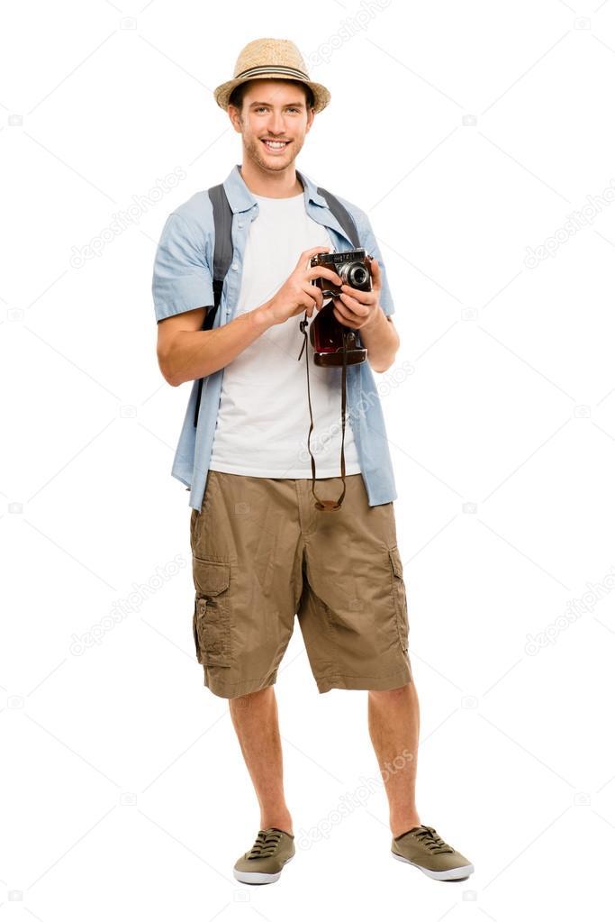 Tourist retro camera travel photographer