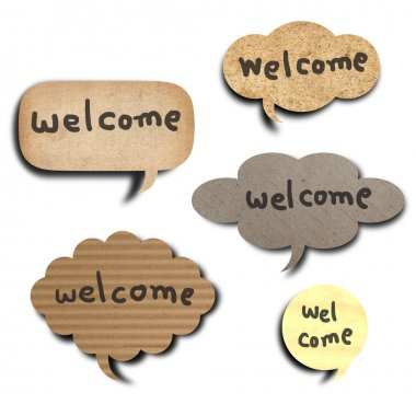 Text welcome on the recycle vintage paper in bubble speech shape stock vector