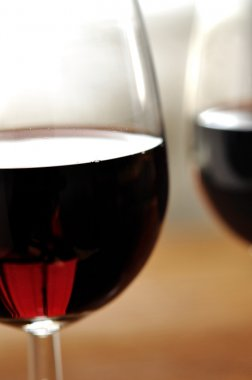 Two glass of fine Italian red wine, closeup