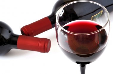 Glass and bottle of fine Italian red wine