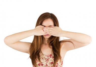 Woman covers  eyes