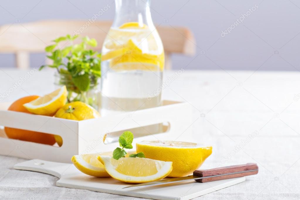 Cut lemons on a cutting board