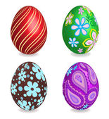 Four beautiful painted easter eggs.