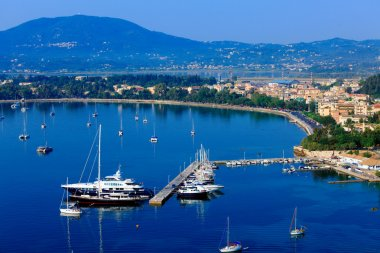 Aerial view from Old fortress on the marina with yachts, Kerkyra