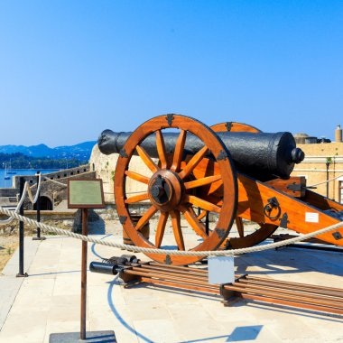 Antique Canon Inside old fortress, Kerkyra, Corfu island, Greece