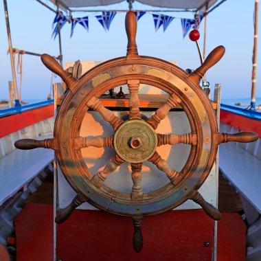 Steering boat wheel close-up