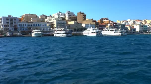 Touristic boats in harbor at morning, Agios Nikolaos, Crete
