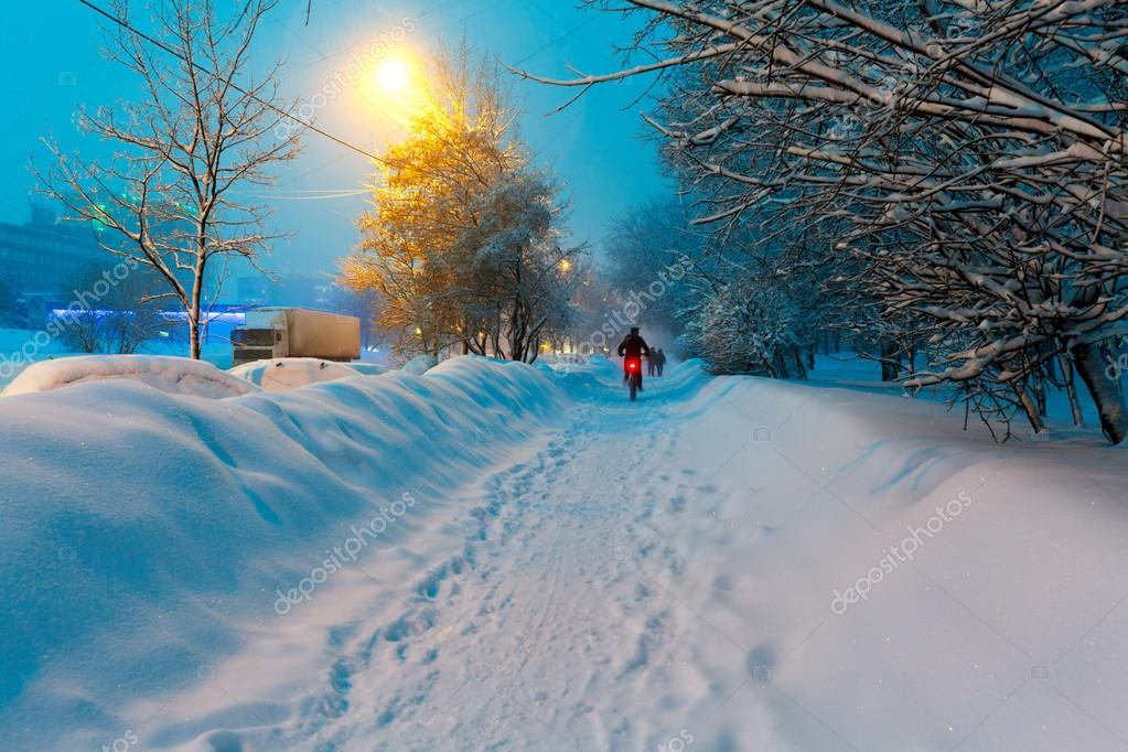 Night Winter City Scene