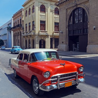 Vintage Red Taxi Car, Havana, Cuba