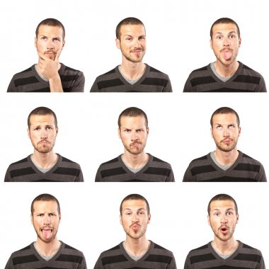Young man face expressions composite on white background