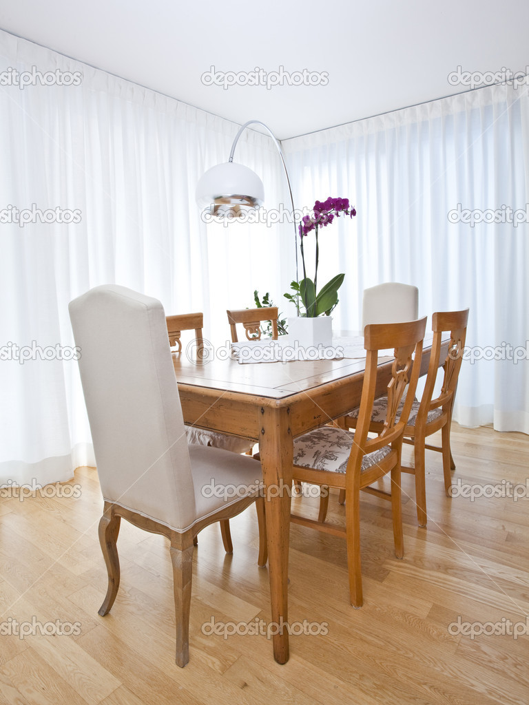 Modern Dining Room With White Curtains Stock Photo C Tommasolizzul