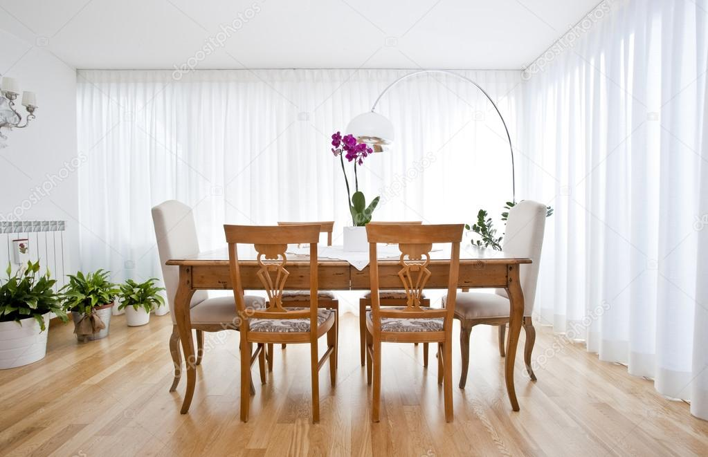Modern Dining Room With White Curtains Stock Photo Image By C Tommasolizzul 14001928