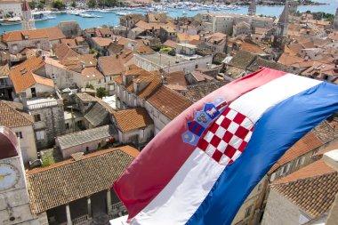 croatian flag on the city of trogir in dalmatia