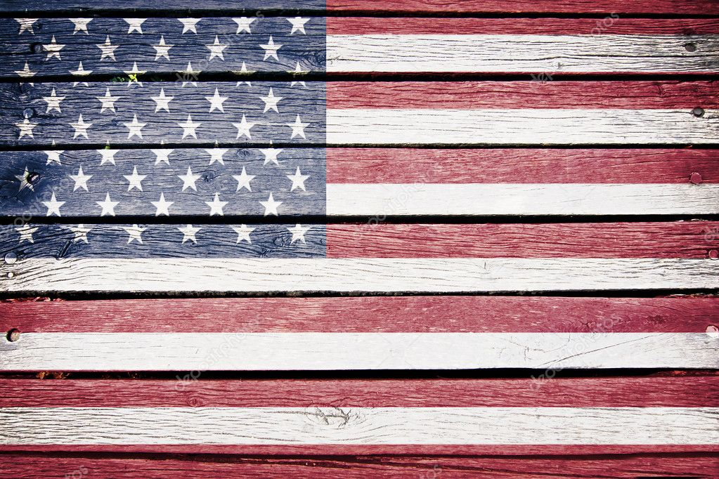 Usa American Flag Painted On Old Wood Plank Background