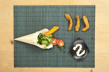 Chicken wrap ingredients stock vector