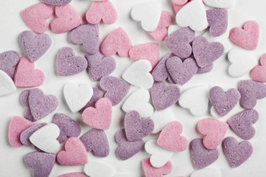 heart shaped candy sweets on white background