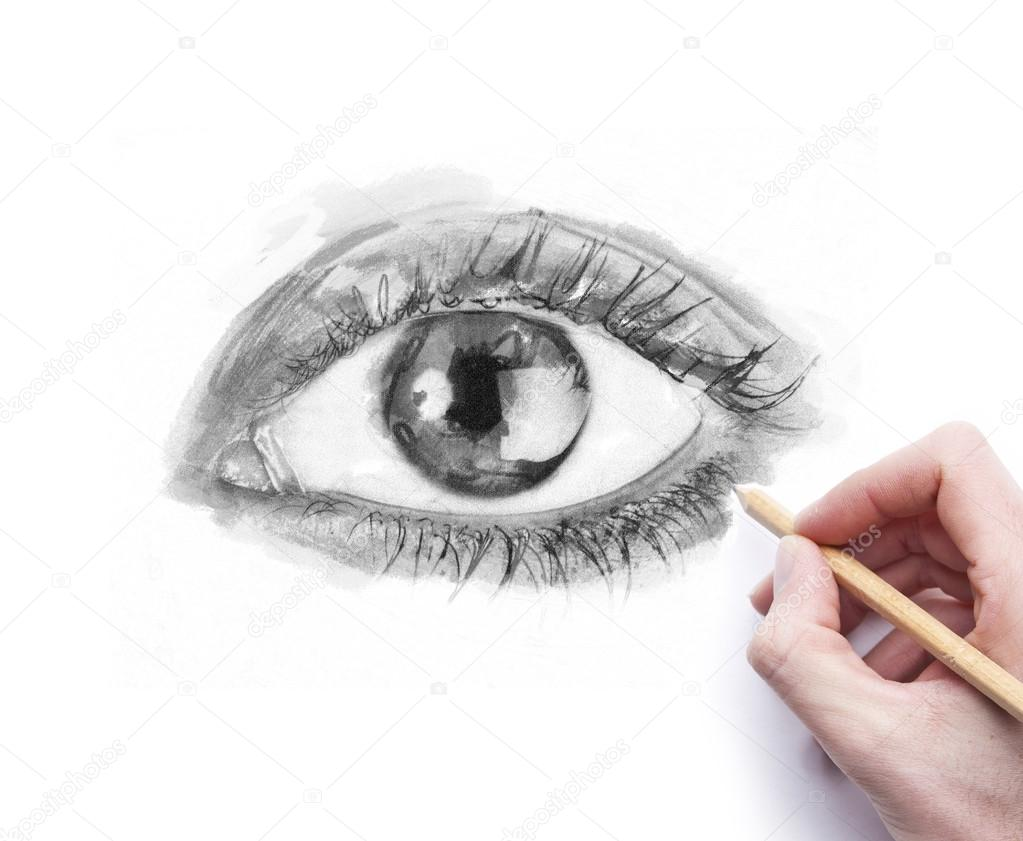 Drawing eye with pencil