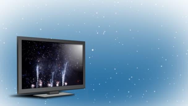 a új widescreen televízió karácsonyi ajándékot háttér.