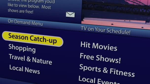 Simulation of an on-screen interactive television on demand guide menu from  a cable or satellite company