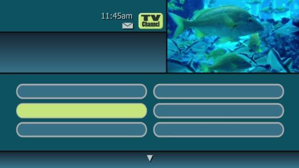 simulace na obrazovce interaktivní televize na požádání menu průvodce z kabelové nebo satelitní společnosti