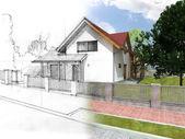 Fotografie dům skica a vizualizace