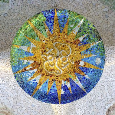 Detail of colorful mosaic in Guell park in Barcelona