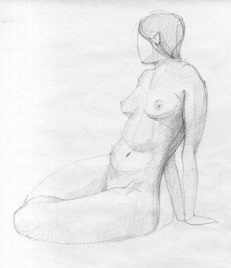 Sitting woman figure sketch