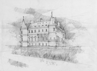 Crayon drawing of the historic chateau