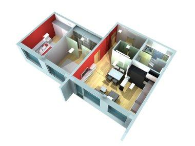 Apartment interior in rendering