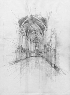 Crayon drawing of Saint Chapelle