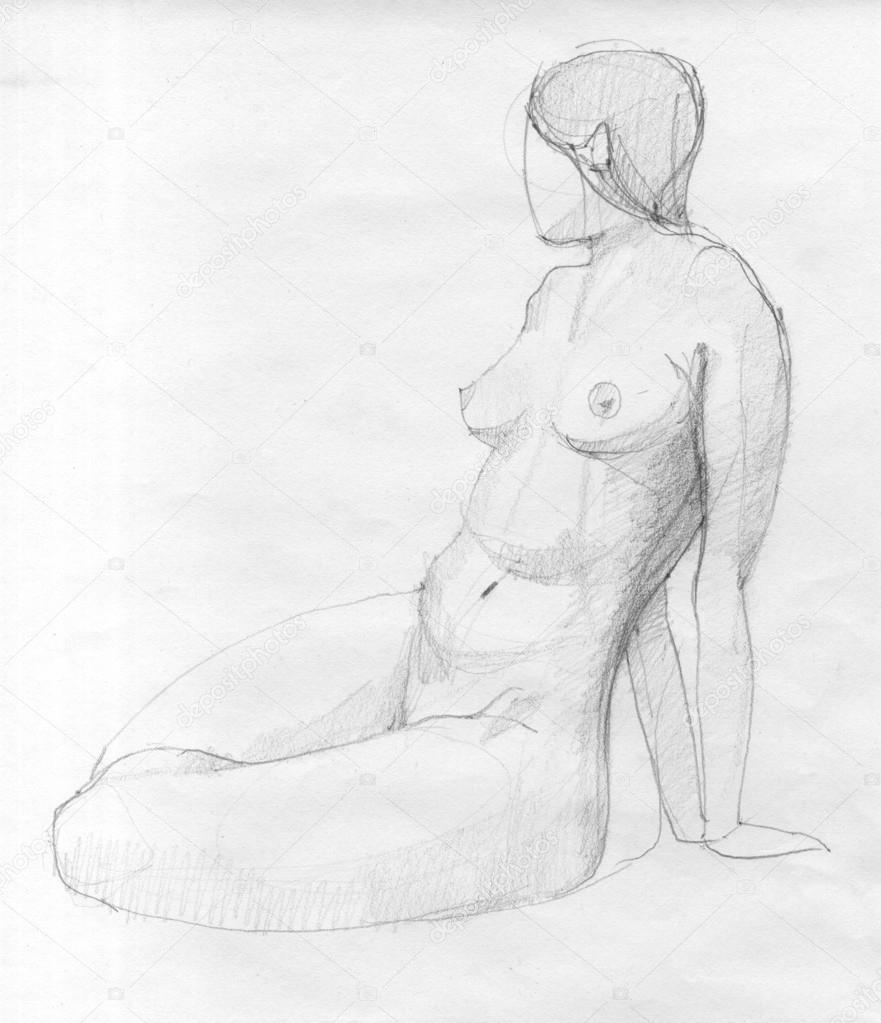 Oturan Kadın Figürü çizimi Stok Foto Synovec 12882468