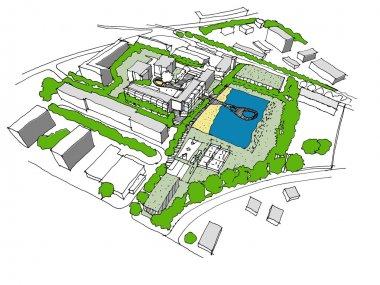 Sketch of a new development urban idea