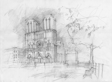 Drawing of the historic facade of Notre dame