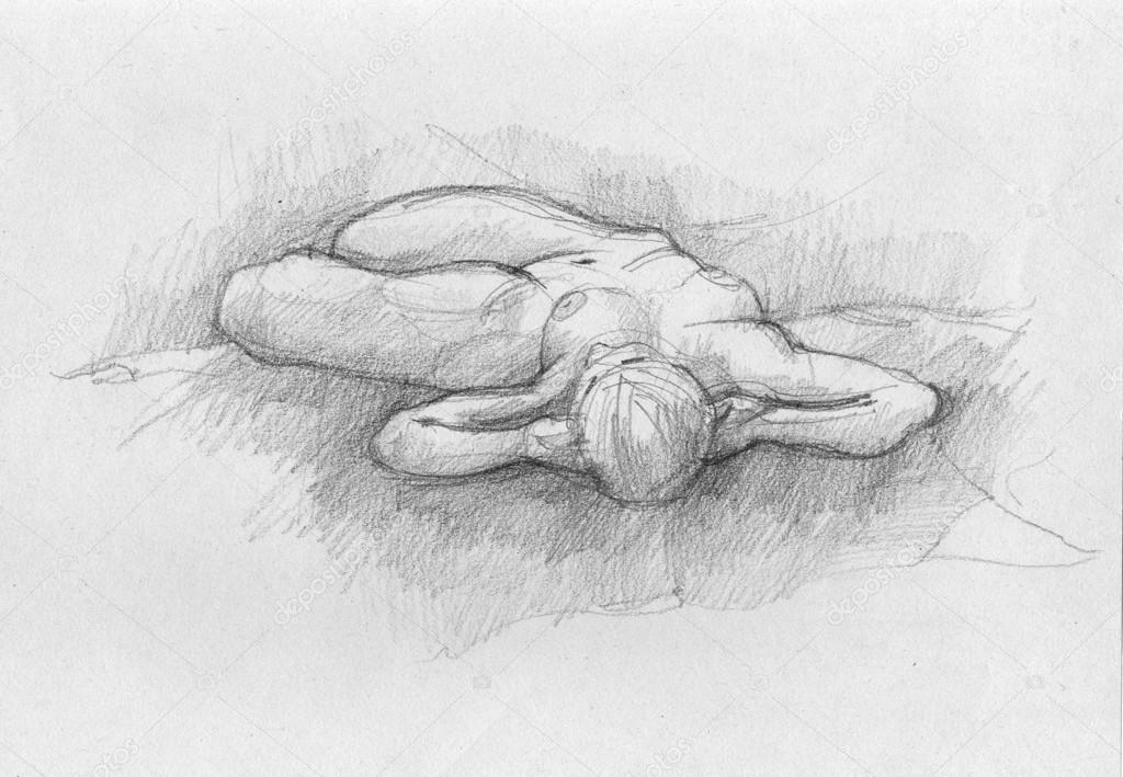 Bir Kadın Vücudu Karakalem El çizimi Stok Foto Synovec 22119901